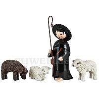 Hirte mit 3 Schafen lackiert 7 cm Krippen