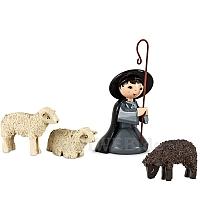Hirte knieend mit 3 Schafen lackiert 7 cm Krippen