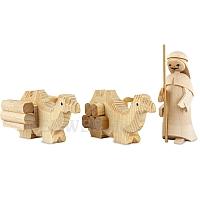 1 Kameltreiber mit 2 liegenden Kamelen natur 7 cm Krippen