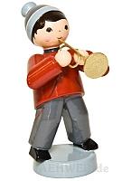 Wintermusiker mit Trompete rot