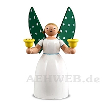 Angel holding candles, white, size 6