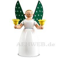 Angel holding candles, white, size 7