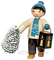 Baumdieb Junge mit Laterne und Baum türkis