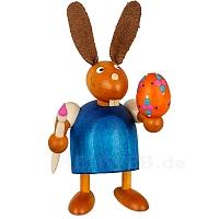Hase mit Pinsel und Ei blau klein
