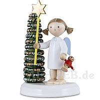 Engel am Weihnachtsbaum mit Stern und Puppe