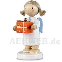 Engel mit Weihnachtspäckchen orange