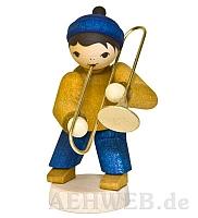 Wintermusiker mit Posaune gebeizt