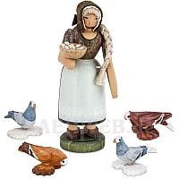 Bäuerin mit Tauben