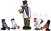 Bauer mit Hühnern