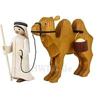 Kameltreiber und Kamel mit Eimern 22 cm gebeizt