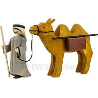 Kameltreiber und Kamel mit Paketen 13 cm gebeizt