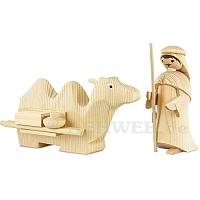 Kameltreiber mit liegendem Kamel 13 cm natur
