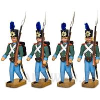 Vier Soldaten mit Seitengewehr