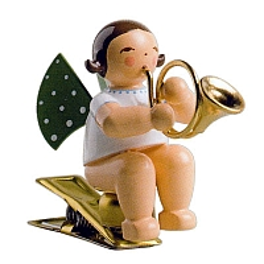 Engel mit Waldhorn auf Klemme