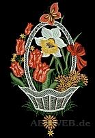 Fensterbild Blütenkorb rot