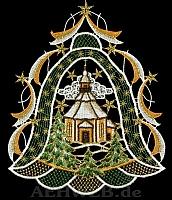 Weihnachtsfensterbild Glocke mit Kirche