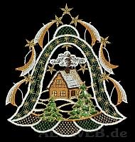 Weihnachtsfensterbild Glocke mit Haus