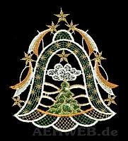 Weihnachtsfensterbild Glocke mit Baum