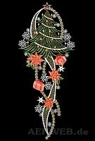 Weihnachtsfensterbild Baum mit Päckchen rot