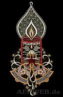 Weihnachtsfensterbild Kerze mit Glocken