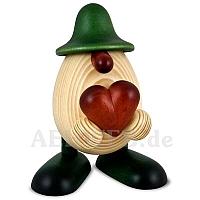 Eierkopf Hanno mit Herz grün lasiert