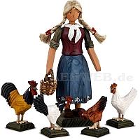 Bäuerin mit Hühnern große Ausführung