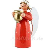 Engel mit Kerzenhalter rot