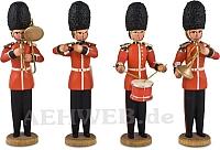 Vier Musiker mit Waldhorn, Posaune, Trommel und Querflöte
