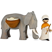 Elefantentreiber mit goßem Elefant 13 cm gebeizt
