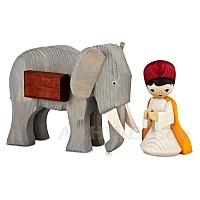 Elefantentreiber mit Elefant 13 cm gebeizt