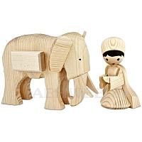 Elefantentreiber mit Elefant 13 cm naturbelassen