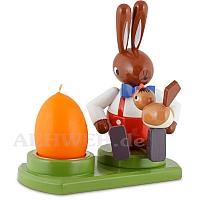 Großer Hase sitzend mit Vogel und Kerze 16 cm