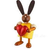Hase mit Herz gelb klein