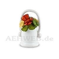 Blumenkorb weiß mit Schmetterling rot