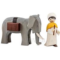 Elefantentreiber 22 cm gebeizt