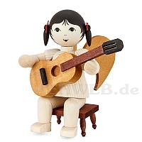 Schleifenengel mit Gitarre auf Hocker - gebeizt