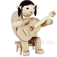Schleifenengel mit Gitarre auf Hocker - natur