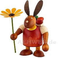 Maxi Hase mit Kiepe und Blume, rot