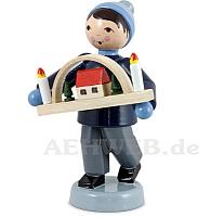 Erzgebirgsverkäufer Junge mit Schwibbogen blau