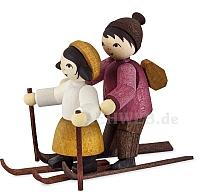 Skianfängerpaar gebeizt