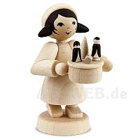 Erzgebirgsverkäufer Mädchen mit Spieldose naturbelassen