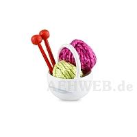 Körbchen mit Wolle, pink
