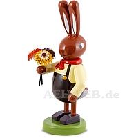 Großer Hasen mit Blumenstrauß 16 cm