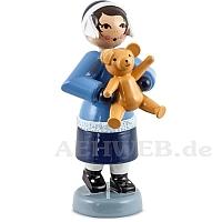 Geschenkemädchen mit Teddy blau