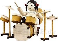 Schleifenengel mit Schlagzeug - gebeizt