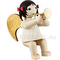 Schleifenengel mit Bachtrompete sitzend - gebeizt