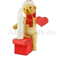 Weihnachtsbär mit Herz und Kerze