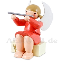 Angel sitting on gift package with Transverse Flute red