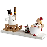 Guardian angel with Snowman Sledge