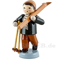 Boy with skis on shoulder brown